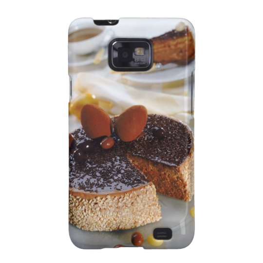 Chocolate cake on plate, close-up samsung galaxy s2 case