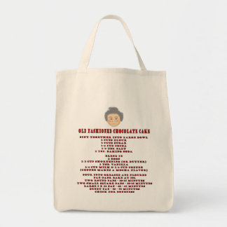 chocolate cake recipe grocery tote bag