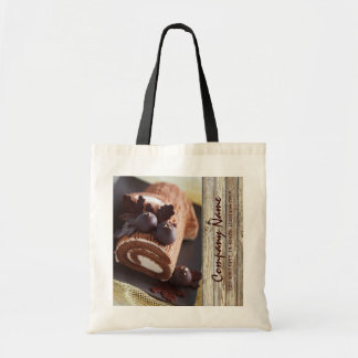 chocolate cake rustic country bakery business tote bag