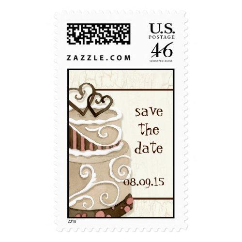 Chocolate Cake Save the Date Invitation Postage stamp