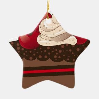 Chocolate cake slice ceramic ornament