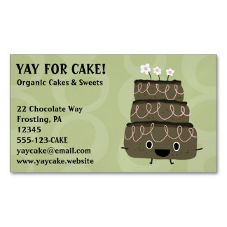 Chocolate Cake Whimsical Smiley Face Character Magnetic Business Card