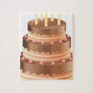 Chocolate cake with candles jigsaw puzzle