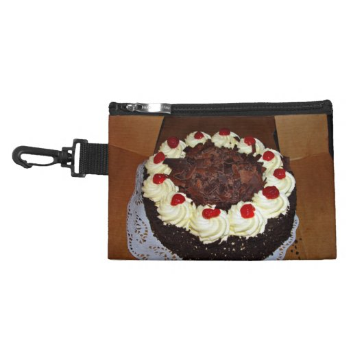 Chocolate cake with cream accessories bags