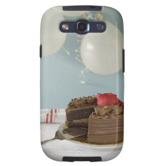 Chocolate cake with missing slice on table, samsung galaxy SIII case