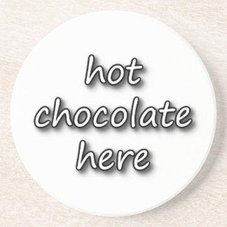 Chocolate caliente aquí posavasos de arenisca