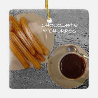 Chocolate Caliente con Churros Ceramic Ornament