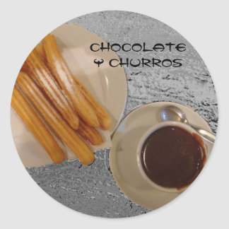 Chocolate Caliente con Churros Classic Round Sticker