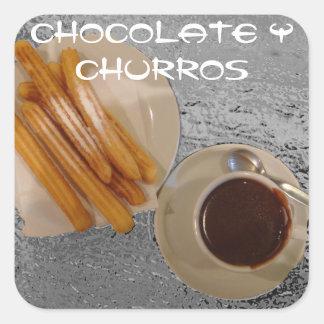 Chocolate Caliente con Churros Square Sticker