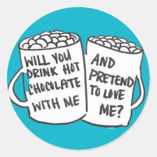 ¿Chocolate caliente de la bebida conmigo? ¿Finja Pegatina Redonda