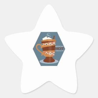 Chocolate caliente mexicano pegatina en forma de estrella