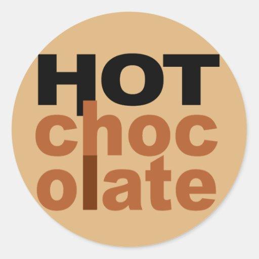 Chocolate caliente pegatina redonda