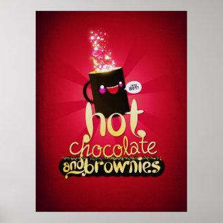 Chocolate caliente y brownie póster