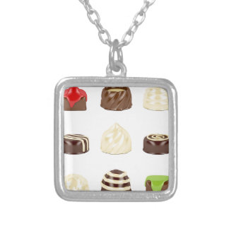 Chocolate candies silver plated necklace
