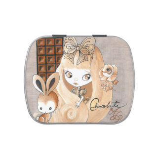 Chocolate Candy And Bunny And Girl Candy Tins