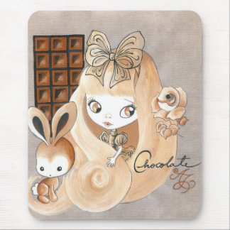 Chocolate Candy And Bunny And Girl Mouse Pad