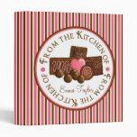 Chocolate Candy Baking  Stripe Recipe Binder