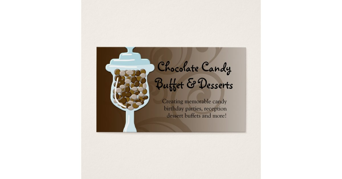 Chocolate Candy Buffet Bar, Urn of Sweets Business Card | Zazzle.com