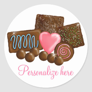 Chocolate  Candy Confections Classic Round Sticker