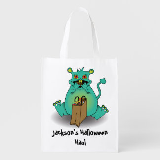 Chocolate candy monster candy sack reusable grocery bag