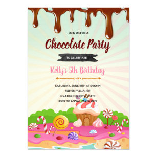 Candyland Chocolate Factory Christmas Party.Chocolate Candyland Birthday Invitation