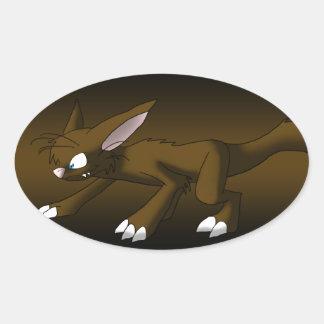 Chocolate Cat Dragon Oval Sticker