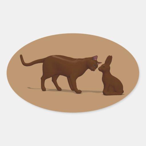 Chocolate Cat Oval Sticker