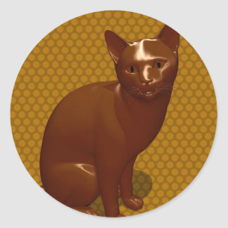 Chocolate Cat Classic Round Sticker