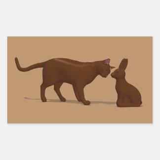 Chocolate Cat Rectangular Sticker