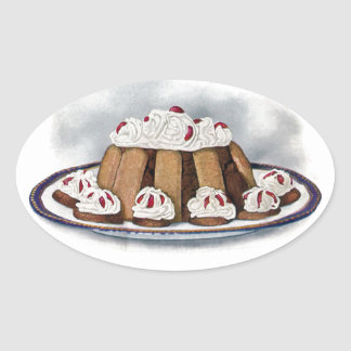 Chocolate Charlotte Russe Vintage Dessert Oval Sticker