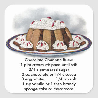 Chocolate Charlotte Russe Vintage Dessert Square Sticker
