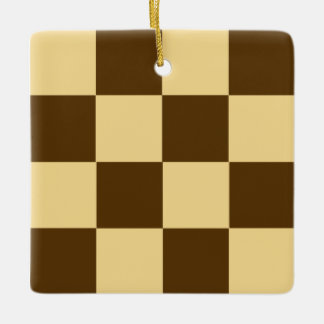 Chocolate Checkerboard Cookie Ceramic Ornament