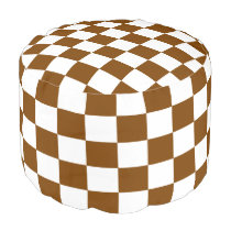 Chocolate Checkered Pouf