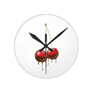 Chocolate cherries round clock