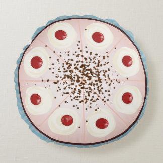 Chocolate cherry cake Black forest Round Pillow