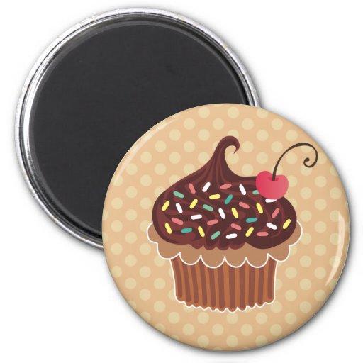 Chocolate & Cherry Cupcake 2 Inch Round Magnet
