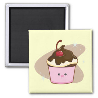 Chocolate Cherry Cupcake 2 Inch Square Magnet