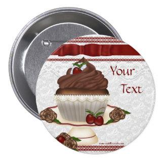 Chocolate Cherry Cupcake Button