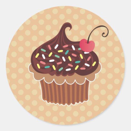 Chocolate & Cherry Cupcake Classic Round Sticker