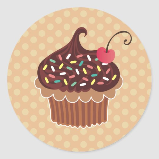Chocolate & Cherry Cupcake Classic Round Sticker