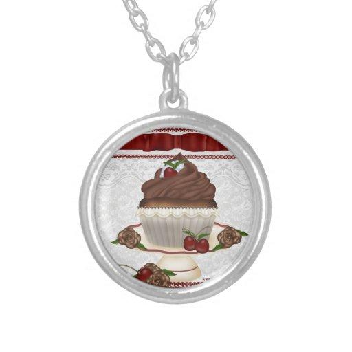 Chocolate Cherry Cupcake Necklace