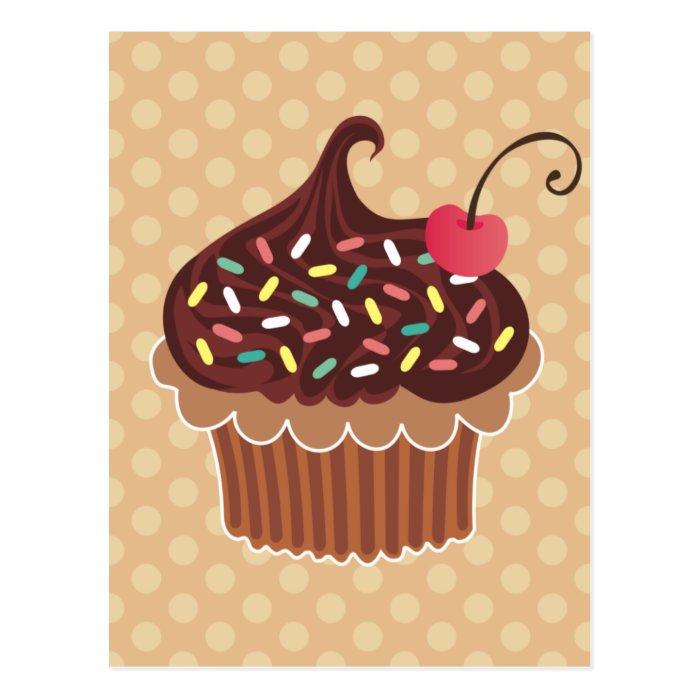 Chocolate & Cherry Cupcake Postcard