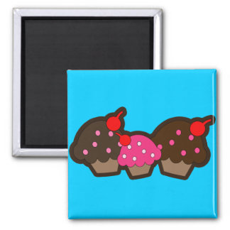 Chocolate Cherry Cupcakes 2 Inch Square Magnet