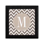 Chocolate Chevron Custom Monogram Jewelry Boxes