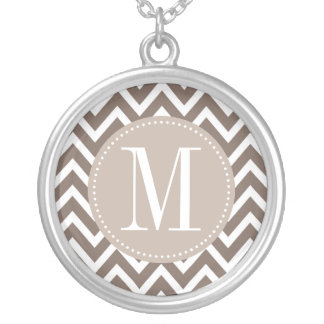 Chocolate Chevron Custom Monogram Round Pendant Necklace
