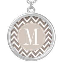 Chocolate Chevron Custom Monogram Silver Plated Necklace