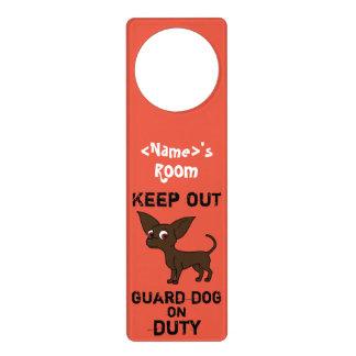 Chocolate Chihuahua Guard Dog on Duty Door Hanger