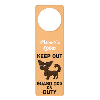 Chocolate Chihuahua Guard Dog on Duty Door Knob Hangers