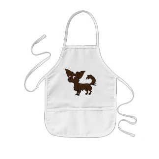 Chocolate Chihuahua with Long Hair Kids' Apron