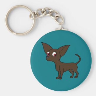 Chocolate Chihuahua with Short Hair Keychain